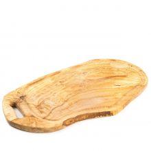 Доска разделочная для нарезки и подачи HandMade из оливы с желобком и ручкой большая - 45 см (Тунис)