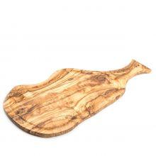 Доска разделочная для нарезки и подачи HandMade из оливы с желобком и ручкой большая 40-43 см (Тунис)